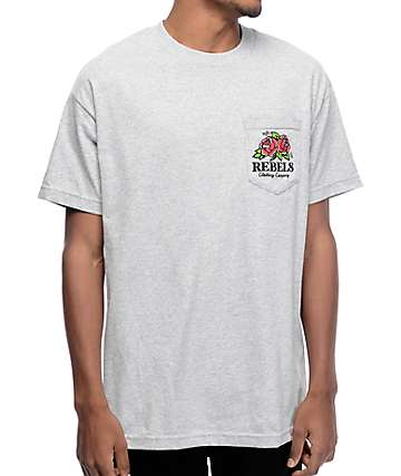 Rebel 8 Centifolia Grey Pocket T-Shirt