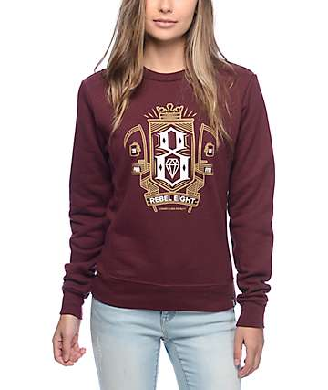 Rebel 8 Grim Burgundy Crew Neck Sweatshirt