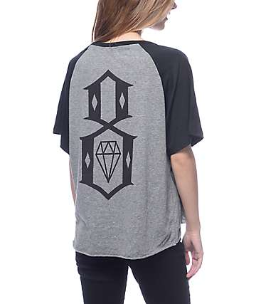 Rebel 8 Logo Grey Raglan T-Shirt