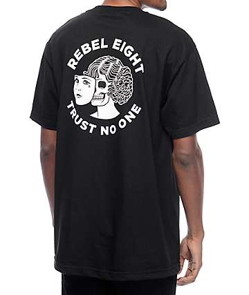 Rebel 8 Two Faced Black T-Shirt