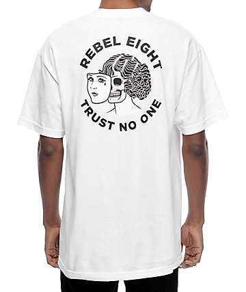 Rebel 8 Two Faced White T-Shirt