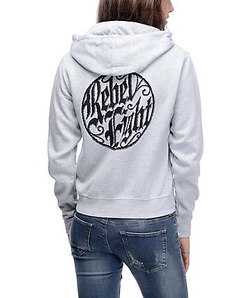 Rebel8 Ornate Heather Grey Zip Up Hoodie