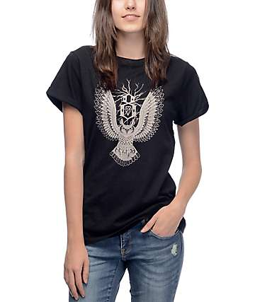 Rebel8 Owl Roll Sleeve Black T-Shirt