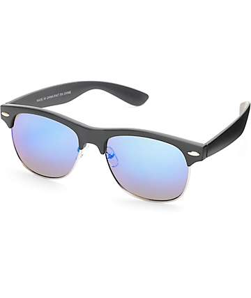 Retro Black & Blue Mirrored Plastic Sunglasses