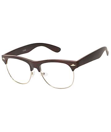 Retro Club Dark Wood Clear Sunglasses