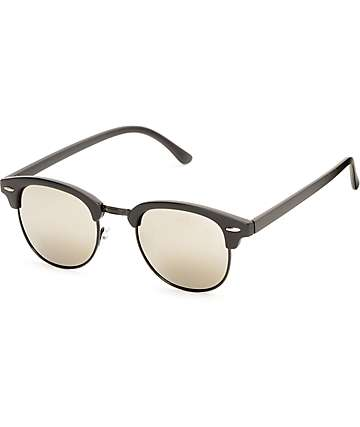 Retro Moon Lit Black Mirror Sunglasses