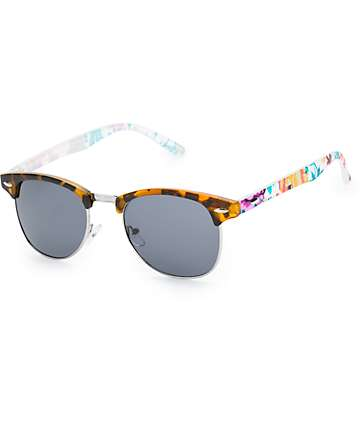 Retro Tortoise Shell & Floral Sunglasses