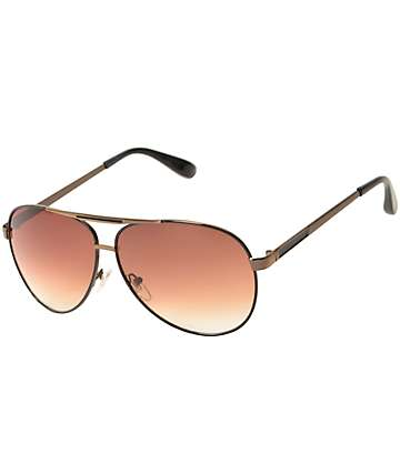 Rev Black & Gold Aviator Sunglasses