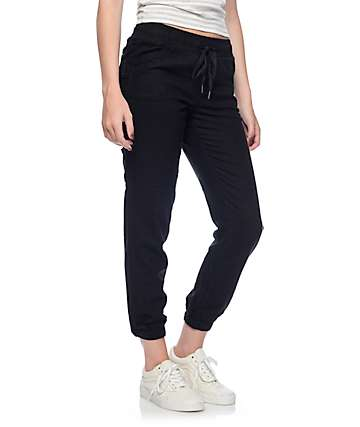 Rewash Alana Black Twill Lightweight Carpenter Pants