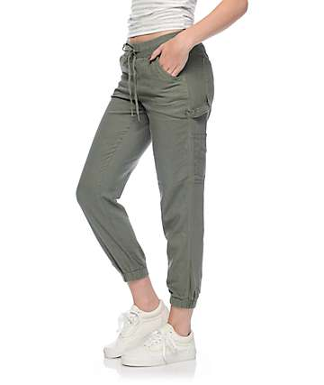 Rewash Alana Olive Twill Lightweight Carpenter Pants