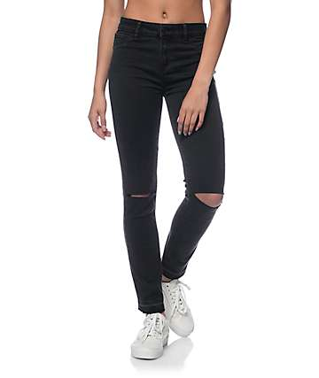 Rewash Black Silk Velvet Destroyed Released Hem Jeans