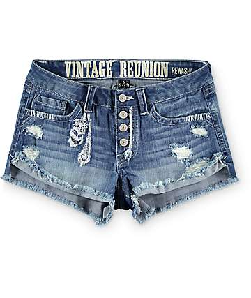 Rewash Casey Medium Wash Feather Embroidery Shorts