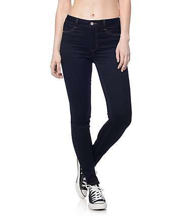 Rewash Dark Silk Velvet Stretch Skinny Jeans