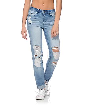 Rewash Vintage Reunion Light Wash Destroyed Skinny Jeans