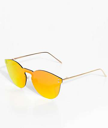 Rimless Red Mirrored Sunglasses