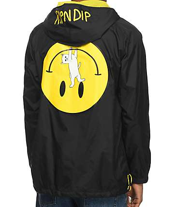 RinNDip Everything'll Be OK chaqueta anorak en negro y color amarillo