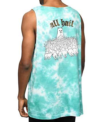 RipNDip All Hail Lord Nermal Blue Tie Dye Tank Top