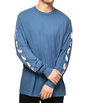 RipNDip Cats Blue Wash Long Sleeve T-Shirt