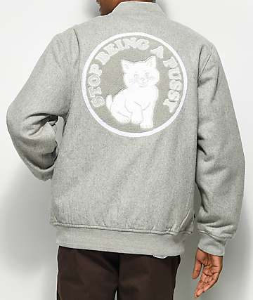 RipNDip Don't Be A Pussy Grey Varsity Jacket
