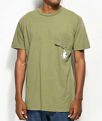 RipNDip Hang In There Olive Pocket T-Shirt