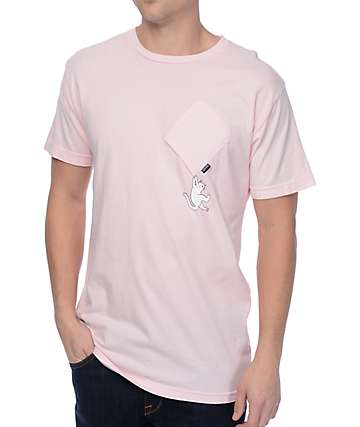 RipNDip Hang In There Pink Pocket T-Shirt
