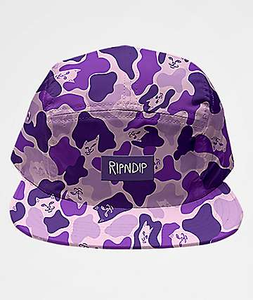 5d8ff08db43 RipNDip Invisible Purple Camo Strapback Hat