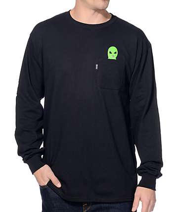 RipNDip Lord Alien Black Long Sleeve Pocket T-Shirt