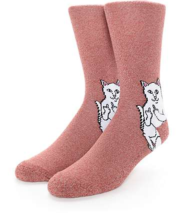 RipNDip Lord Nermal Heather Red Crew Socks