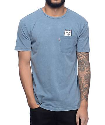 RipNDip Lord Nermal Indigo Acid Wash Pocket T-Shirt