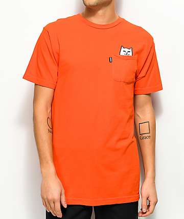 RipNDip Lord Nermal Safety Orange camiseta con bolsillo en naranja