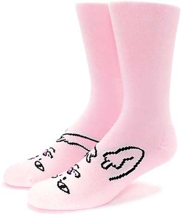 RipNDip Lord Nermal Twins Pink Crew Socks