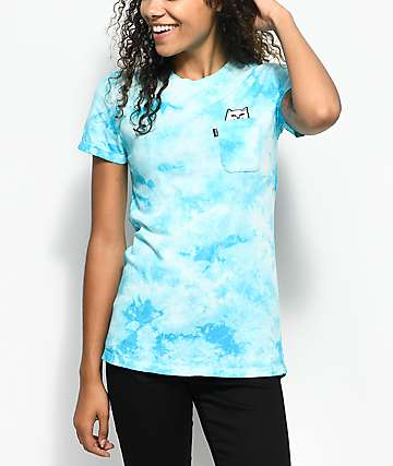 RipNDip Lord Nermal camiseta azul con efecto tie dye y bolsillo