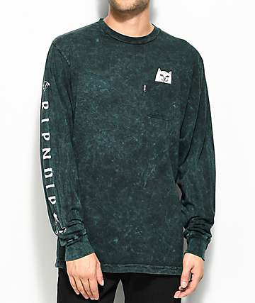 RipNDip Lord Nermal camiseta verde de manga larga con efecto tie dye