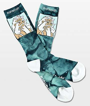 RipNDip Nerm Beard Teal Tie Dye Crew Socks
