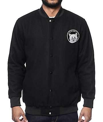 RipNDip Stop Being A Pussy Black Varsity Bomber Jacket