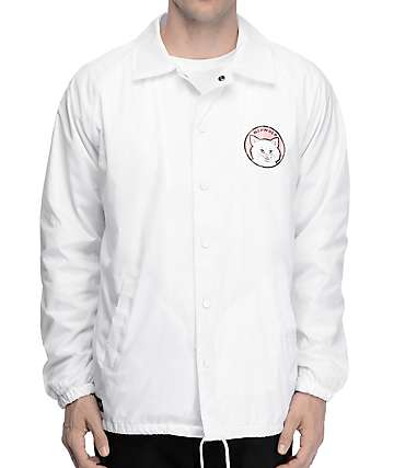 RipNDip Stop Being A Pussy White Coaches Jacket