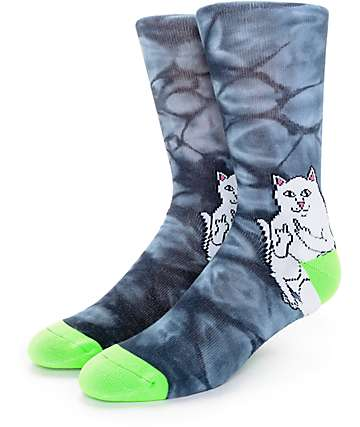 RipNDip We Out Here Black Tie Dye Crew Socks