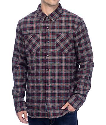 Roark Blue Buck Burgundy Flannel Shirt