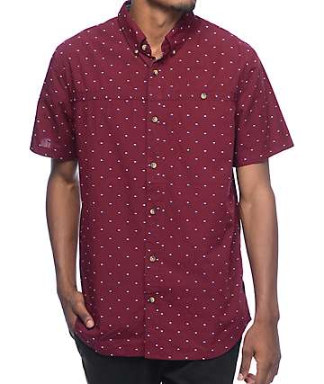 Roark Captain Rycam Burgundy Short Sleeve Button Up Shirt