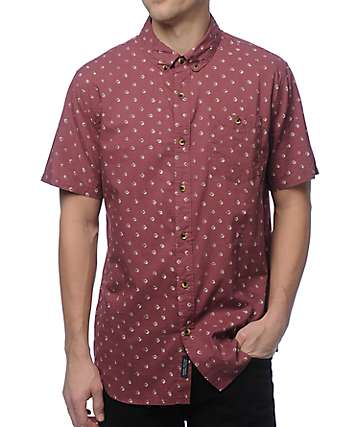 Roark Dr. Hadjir Burgundy Button Up Shirt