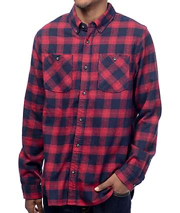 Roark Highway 4 Red & Navy Flannel Long Sleeve Shirt