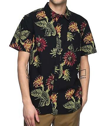 Roark Revival Bala Black Floral Short Sleeve Button Up Shirt