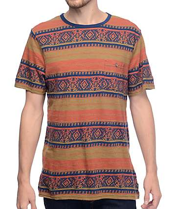 Roark Revival Salish Rust Jacquard Knit Pocket T-Shirt