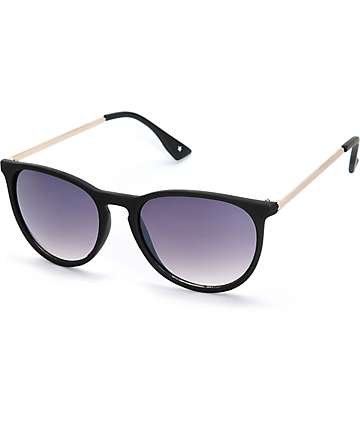 Rooney Gold Arm Black Rounded Sunglasses