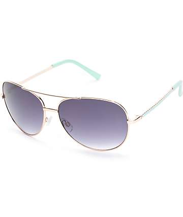 Rope Me In Mint Aviator Sunglasses