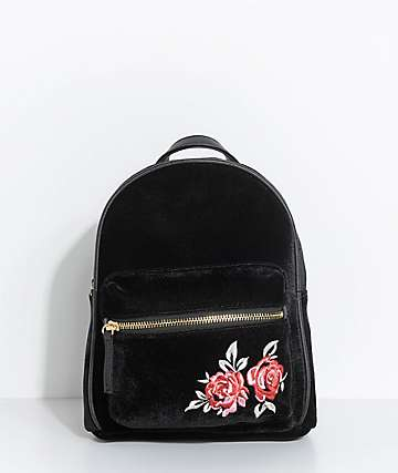 Rose Embroidered Black Velvet Mini Backpack