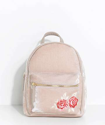 Rose Embroidered Taupe Velvet Mini Backpack