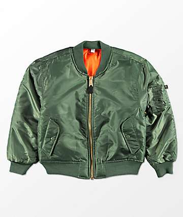 Rothco Boys MA-1 Olive & Blaze Orange Reversible Bomber Jacket