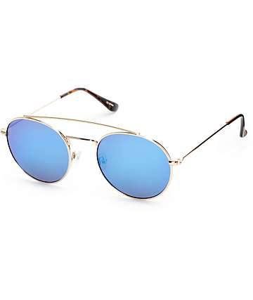 Rounded Bar Tortoise & Blue Round Sunglasses