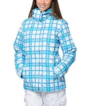 Roxy American Pie White Plaid 10K Snowboard Jacket